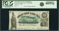 G. S. L. City, U.T. - Great Salt Lake City Corporation 25 Cents Dec. 6, 1866 Rust 109, Nyholm 113. Remainder. PCGS Extre...