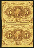 Fractional Currency:First Issue, Uncut Vertical Pair Fr. 1230 5¢ First Issue Very Fine.. ...