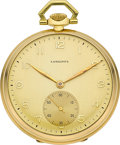 Timepieces:Pocket (post 1900), Longines 18k Gold Pocket Watch, circa 1920's. ...