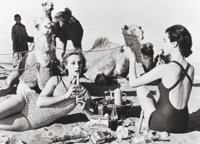 William Klein (American, b. 1928) Tatiana + Marie Rose + Camels, Tea Party, Morocco (Vogue), 1958 Ge