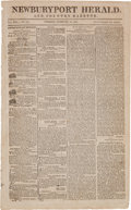 Miscellaneous:Newspaper, [War of 1812 - Response to Madison's Address]. Newspaper:Newburyport Herald. And Country Gazette....