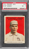 Baseball Cards:Singles (Pre-1930), 1914 Cracker Jack Chief Bender #19 PSA NM 7 - The Highest GradedExample! ...