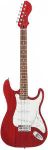 Musical Instruments:Electric Guitars, Stratocaster Copy Handcrafted Red Stained Guitar | Proceeds fromthis Auction will benefit the Austin Disaster Relief Netw...