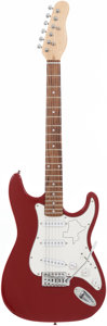 Musical Instruments:Electric Guitars, Stratocaster Copy Handcrafted Red and White Guitar with the Stateof Texas Outline Etched in the Pick Guard | Proceeds fro...