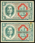 Military Payment Certificates:Series 611, Series 611 $1 Two Examples Fine or Better.. ... (Total: 2 notes)
