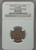 Civil War Tokens, 1863 Civil War Token, Millions For Defence, F-43/388 a, MS63 BrownNGC. ...