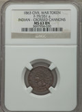 Civil War Tokens, 1863 Civil War Token, Indian Crossed Cannons, F-79/351 a, MS63Brown NGC....