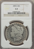Morgan Dollars: , 1895-S $1 Good 4 NGC. NGC Census: (134/2417). PCGS Population(115/3959). Mintage: 400,000. Numismedia Wsl. Price for probl...