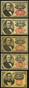 Fractional Currency:Fifth Issue, A Quintet of Fifth Issue Fractional Notes.. ... (Total: 5 notes)