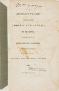 Books:Americana & American History, [Americana, U.S. Navy]. Lieutenant Weaver's Vindicatory Addressand Appeal, to the Public, from the Opinion of Chancello...
