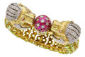 Estate Jewelry:Bracelets, Peridot, Diamond, Ruby, Gold Bracelet. ...