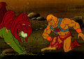 Animation Art:Presentation Cel, He-Man and the Masters of the Universe He-Man and Battle CatProduction Cel Setup (Filmation, 1984).. ... (Total: 2 Items)