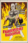 "Movie Posters:Horror, Frankenstein's Daughter (Astor Pictures, 1958). One Sheet (27"" X 41""). Horror.. ..."