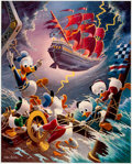 Memorabilia:Disney, Carl Barks Afoul of the Flying Dutchman Signed Limited Edition Lithograph Print #219/345 (Another Rainbow, 1985).... (Total: 2 Items)