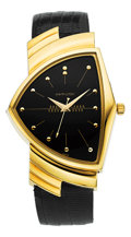 "Timepieces:Wristwatch, Hamilton Unused 18k Gold Reissue ""Ventura"", René RondeauCollection. ..."