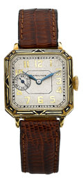 "Timepieces:Wristwatch, Hamilton ""Square Engraved Enamel"" From The René Rondeau Collection,circa 1925. ..."