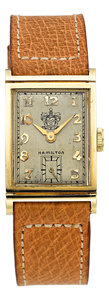 "Timepieces:Wristwatch, Hamilton ""Gilbert"" 14k Gold Corporate Award Watch, René RondeauCollection. ..."