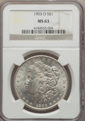 Morgan Dollars: , 1903-O $1 MS63 NGC. NGC Census: (1907/4461). PCGS Population (3185/7266). Mintage: 4,450,000. Numismedia Wsl. Price for pro...