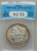 1893 $1 VAM-4, Doubled Stars AU53 ANACS. TOP-100. NGC Census: (8/22). PCGS Population (14/19). ...(PCGS# 133942)