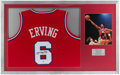 Basketball Collectibles:Uniforms, Julius Erving Signed Jersey Display....