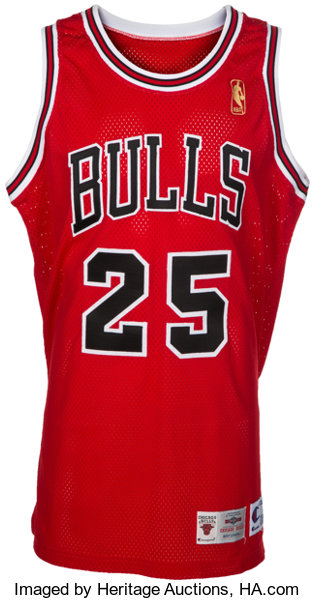 881345317 1996-97 Steve Kerr Game Worn Chicago Bulls Jersey and Shorts