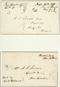 Autographs:Military Figures, Union General John E. Wool: Two Address Covers with Free Frank Signatures....