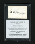 Fractional Currency:Fifth Issue, Spinner's Autograph. Francis Spinner is credited with theintroduction of Postage Currency while he served as Treasurer oft...