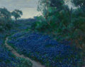 Texas:Early Texas Art - Impressionists, Julian Onderdonk (American, 1882-1922). Bluebonnets in the MistyMorning, 1917. Oil on canvas. 14 x 18 inches (35.6 x 45...