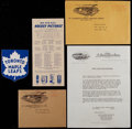"Hockey Cards:Lots, Rare 1934-43 Bee Hive ""Stout Cloth"" Toronto Maple Leaf Shield(Crests), Original Mailing Envelope, Letter and Ad. ..."