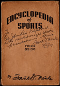 "Miscellaneous Collectibles:General, Frank Menke Signed ""Encyclopedia of Sports"" Book...."