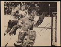 Hockey Collectibles:Photos, Jacques Plante Signed Photograph Clipping....
