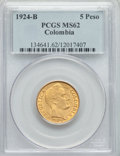 Colombia, Colombia: Republic gold 5 Pesos 1924-B MS62 PCGS,...