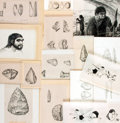 Books:Original Art, [Production Art]. Pierre Laurent and Eric Mose. Group of Seventeen Illustrations Depicting Early Man and His Tools. Circa 19...