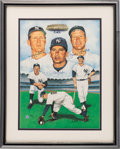 Baseball Collectibles:Others, 1987 Mickey Mantle, Billy Martin & Whitey Ford Multi SignedLithograph....