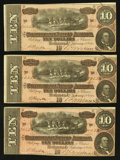 Confederate Notes:1864 Issues, T68 $10 1864 PF-31 Cr. 549 Three Consecutive Examples.. ... (Total: 3 notes)