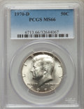 Kennedy Half Dollars, 1970-D 50C MS66 PCGS. PCGS Population (487/13). NGC Census:(135/7). Mintage: 2,150,000. Numismedia Wsl. Price for problem ...