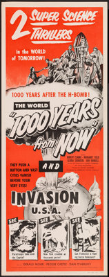 "1000 Years from Now/Invasion USA Combo (American Picture, R-1956). Insert (14"" X 36""). Science Fiction"