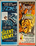"""Movie Posters:War, Away All Boats & Other Lot (Universal International, 1956).Inserts (2) (14"""" X 36""""). War.. ... (Total: 2 Items)"""