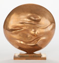 Bronze:Contemporary, Giò Pomodoro (Italian, 1930-2002). Moon, 1964. Bronze withgold patina. 9-1/4 x 9-1/2 x 2-1/2 inches (23.5 x 24.1 x 6.4 ...
