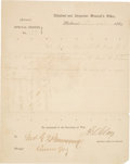 Miscellaneous:Ephemera, [Civil War - Pierre G.T. Beauregard]. Special Orders Issued toGeneral D.H. Hill to Join General Beauregard's Forces at Charle...