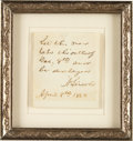 Autographs:U.S. Presidents, Abraham Lincoln Autograph Note Signed...