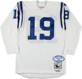 Football Collectibles:Uniforms, 1990's Johnny Unitas Signed Mitchell & Ness Baltimore Colts Durene Jersey, 9/19....