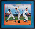 Baseball Collectibles:Others, 1990's Mickey Mantle, Willie Mays & Duke Snider Multi SignedLithograph....