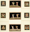 Books:Prints & Leaves, Group of Nine Hand-Colored Lithographs of Cherubic Figures. [N.p.,n.d.]....