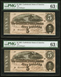 Confederate Notes:1864 Issues, T69 $5 1864 PF-10 Cr. 564, Two Examples.. ... (Total: 2 notes)