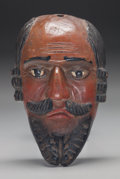 American Indian Art:Wood Sculpture, Spaniard Mask, Mexican. 20th c....