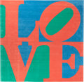 Textiles, Robert Indiana (American, b. 1928). Italian Love, circa 1995. Chrome-dyed, hand-carved tufted archival New Zealand wool ...