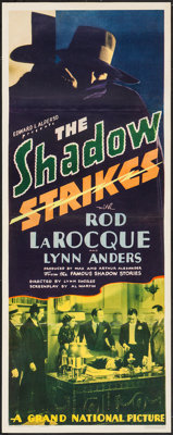"The Shadow Strikes (Grand National, 1937). Insert (14"" X 36""). Mystery"