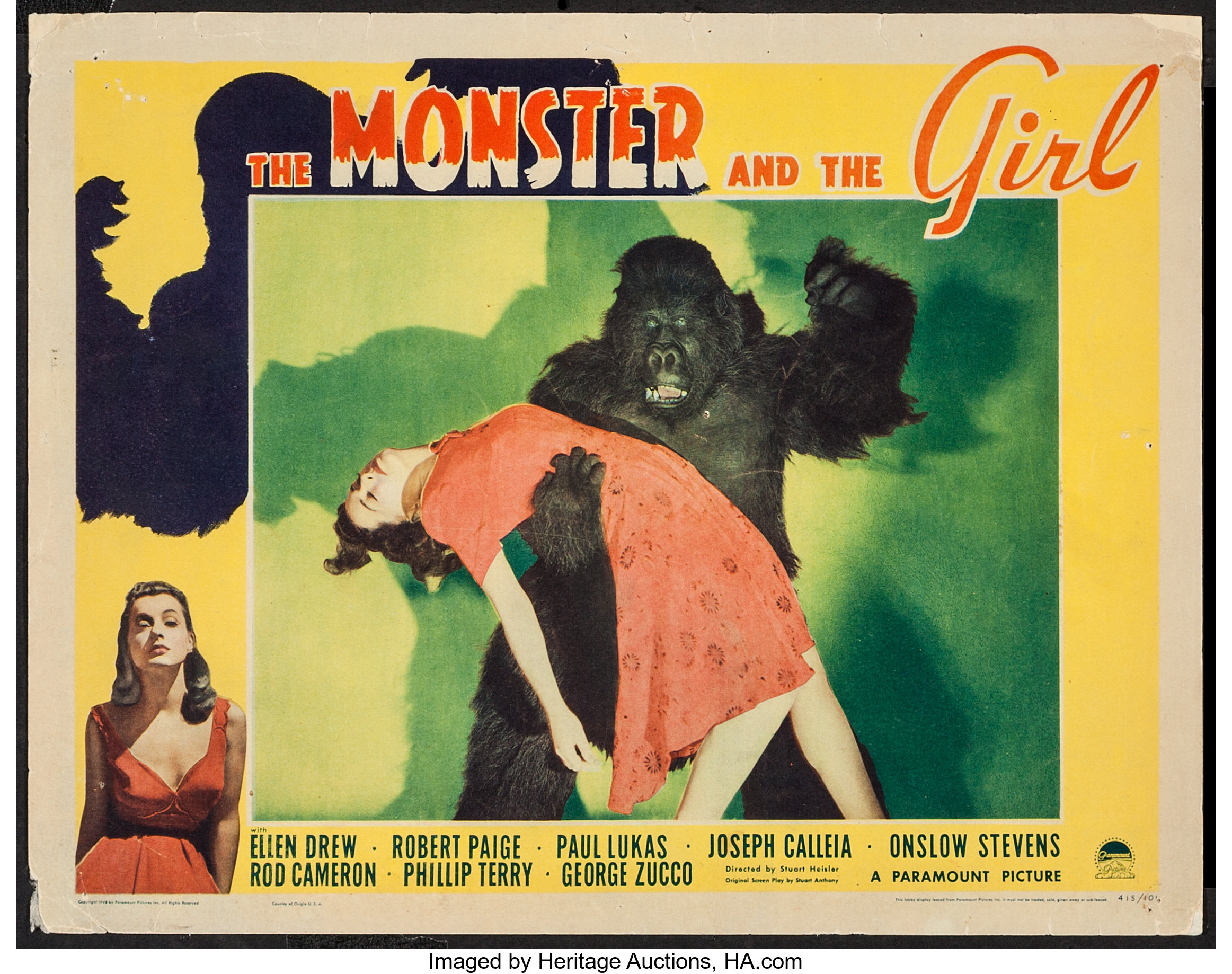 "The Monster and the Girl (Paramount, 1941). Lobby Card (11"" X 14""). 