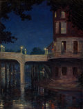 , William Frederick Jarvis (American, 1898-1966). Night on theRiverwalk. Oil on canvas. 18 x 14 inches (45.7 x 35.6 cm). ...